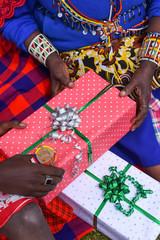 Maasai exchanging gifts