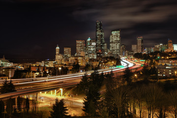 Seattle skyline and interstate during rush hour traffic
