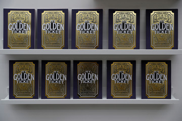 Copies of The Golden Ticket interactive book, are seen on display at publisher, Wonderbly's studio in London