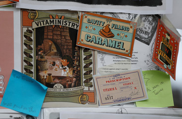 Artwork of The Golden Ticket interactive book, is seen on display at publisher, Wonderbly's studio in London