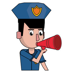 Police profile cartoon colorful