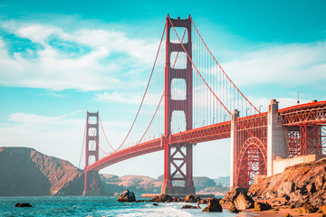 Fototapete - Golden Gate Bridge at sunset, San Francisco, California, USA