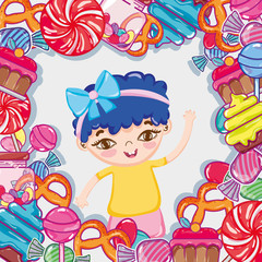 Girl and candies cartoons