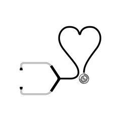 Isolated stethoscope icon with a heart form. Vector illustration design