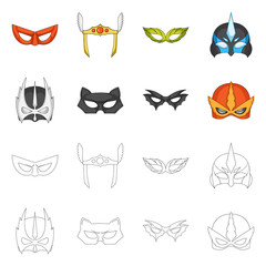 Vector illustration of hero and mask symbol. Collection of hero and superhero stock vector illustration.