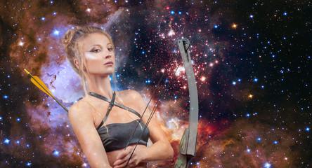 Sagittarius Zodiac Sign. Beautiful woman with bow and arrow