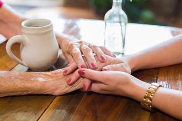Holding Hands Grandmother Granddaughter Generations