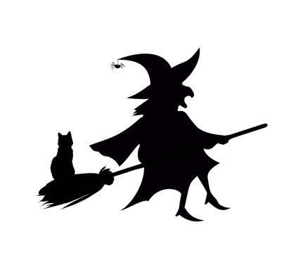 Black silhouette of witch flying on broom with cat isolated on white background.