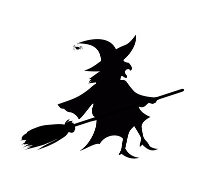 Black silhouette of witch fly on broomstick isolated on white background.
