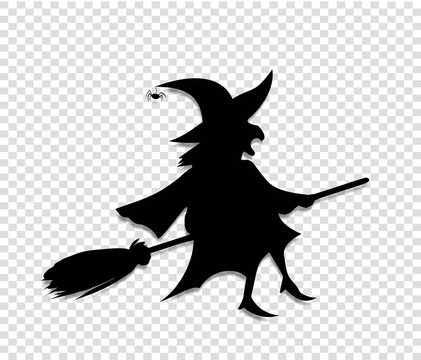 Black silhouette of witch fly on broomstick isolated on transparent background.