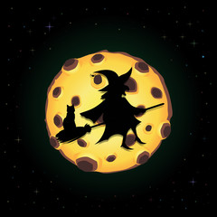 Black silhouette of witch on broomstick with cat flying on night sky background with full yellow moon