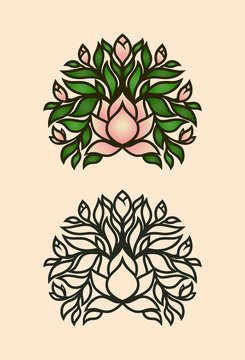 Magnolia bush icon with flowers and buds