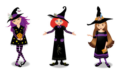 Halloween vector illustration of three young witch girls isolated on white background.
