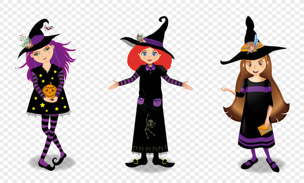 Halloween vector illustration of three young witch girls isolated on transparent background.