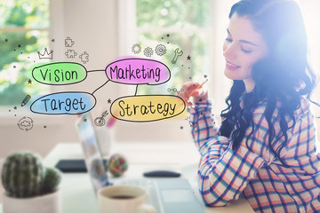 Marketing concept with young woman holding a pencil