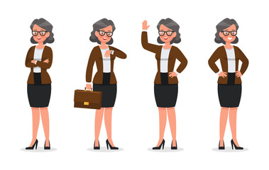 set of business woman working in office character vector design no3