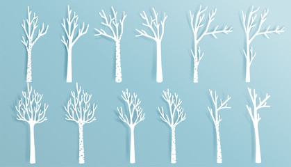 Christmas trees set in paper cut style  vector illustration.