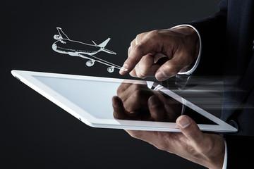 タブレットPC、飛行機予約