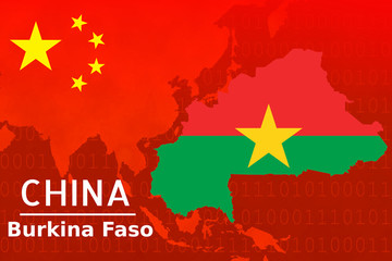 Concept image of Bilateral trade between China - Burkina Faso, economic relations, China invest in  Africa.