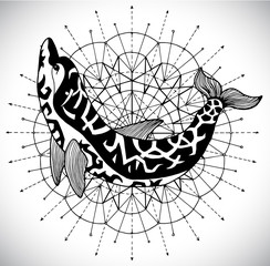 Black and white dolphin on pattern circle. Esoteric, occult and mysterious concept with sacred geometry elements, graphic vector illustration