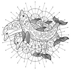 Black and white drawing of three dolphins against pattern circle. Esoteric, occult and mysterious concept with sacred geometry elements, graphic vector illustration