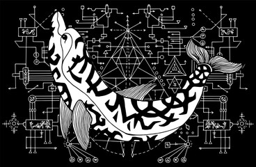 Dolphin against black and white sacred geometry background. Esoteric, occult and mysterious concept with sacred geometry elements, graphic vector illustration