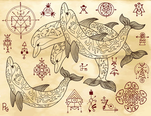Design set with dolphins and mystical symbols on old texture background. Esoteric, occult and mysterious concept with sacred geometry elements, graphic vector illustration