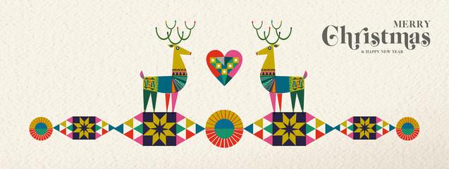 Christmas and New Year retro geometric deer banner