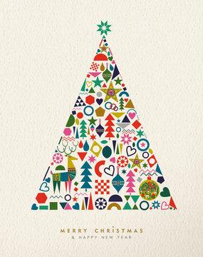 Christmas and New Year retro geometric icon tree