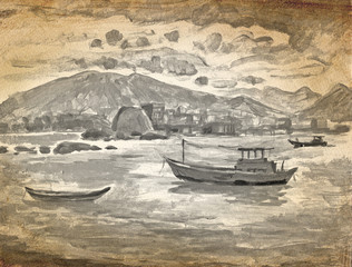 eastern boats on the river sketch