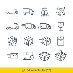 Logistic (Delivery) Related Icons / Vectors Set - In Line / Stroke Design | Contains Such car, truck, pickup, delivery, box, plane, ship, document, fragile, handle with care, heavy truck, send, sent.