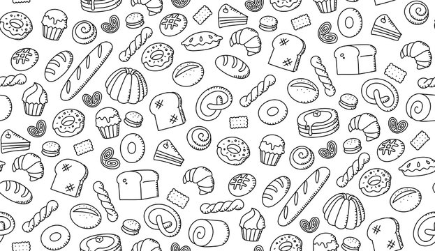 Seamless pattern background Bakery kids hand drawing set illustration isolated on white background