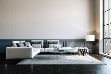 3d render of beautiful interior with sofa and wooden floor