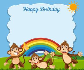 Happy Birthday concept with monkeys
