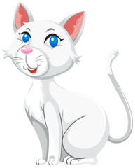 Cute white cat white background