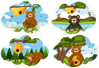 Set of bear scenes