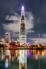 Scenic night view of skyscraper reflected in lake, Seoul