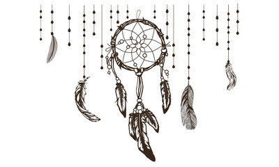 dreamcatcher with colorful vibrant feathers on background, card or poster ethnic art