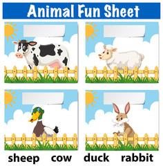 Animal fun sheet concept