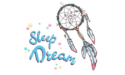 dreamcatcher with colorful vibrant feathers on background