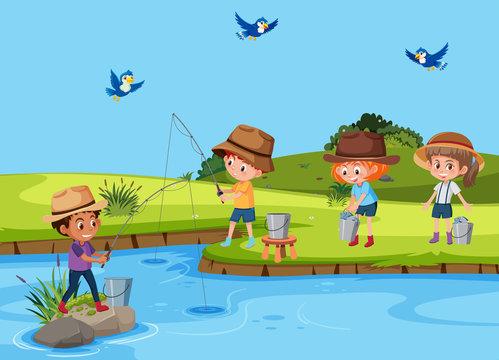 Set of children fishing in river