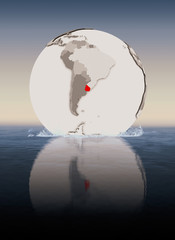 Uruguay on globe in water
