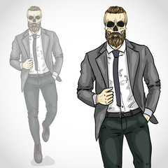 Vector man with skull and beard, moustaches