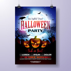 Halloween Party flyer vector illustration with scary faced pumpkin on mysterious moon background. Holiday design template with crow, cemetery and flying bats for party invitation, greeting card