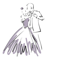 art sketched beautiful young bride and groom in dance on white background