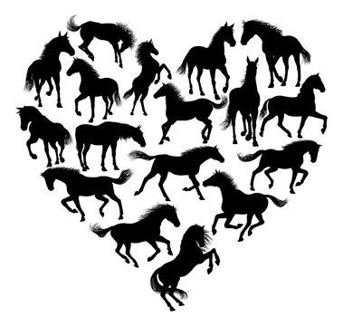 A horse silhouette hear conceptual illustration graphic