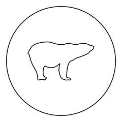 Polar bear icon black color in round circle