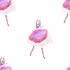 Seamless background with watercolor elegant ballet dancers. Hand painted elements. Decorative pattern for web, wallpaper, textile, clothing, fabric, scrapbook, stationery, home decor.