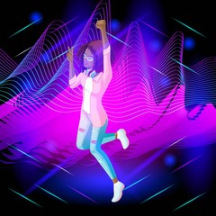 Isometric girl on the background of musical waves, the girl is dancing, strands of hair are developing, jumping. Isometric girl for animation