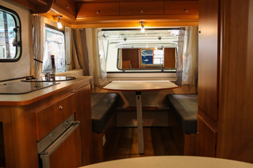 Exquisite compact interior of a camper